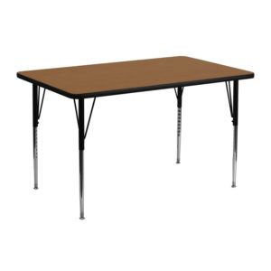 Wholesale 24''W x 48''L Rectangular Oak Thermal Laminate Activity Table - Standard Height Adjustable Legs