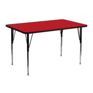 Wholesale 24''W x 48''L Rectangular Red HP Laminate Activity Table - Standard Height Adjustable Legs