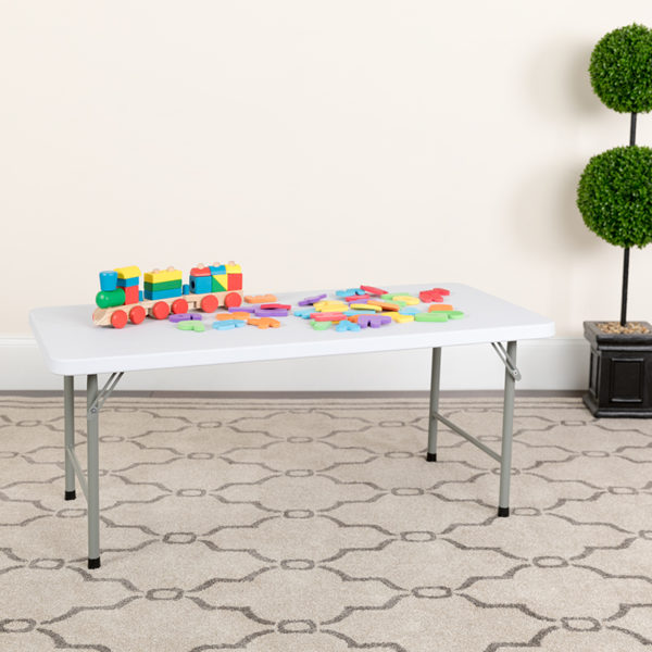 Lowest Price 24''W x 48''L x 19''H Kid's Granite White Plastic Folding Table