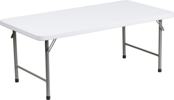 Wholesale 24''W x 48''L x 19''H Kid's Granite White Plastic Folding Table
