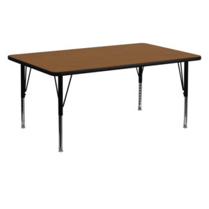 Wholesale 24''W x 60''L Rectangular Oak HP Laminate Activity Table - Height Adjustable Short Legs
