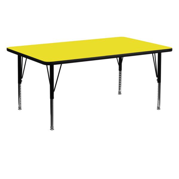 Wholesale 24''W x 60''L Rectangular Yellow HP Laminate Activity Table - Height Adjustable Short Legs