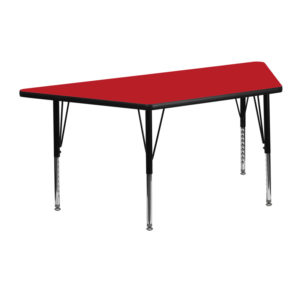 Wholesale 25''W x 45''L Trapezoid Red HP Laminate Activity Table - Height Adjustable Short Legs