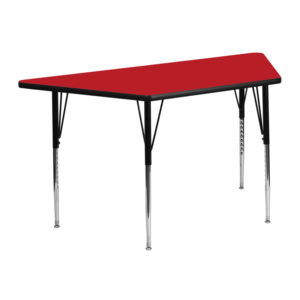 Wholesale 25''W x 45''L Trapezoid Red HP Laminate Activity Table - Standard Height Adjustable Legs
