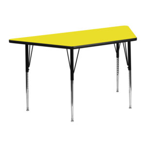 Wholesale 25''W x 45''L Trapezoid Yellow HP Laminate Activity Table - Standard Height Adjustable Legs