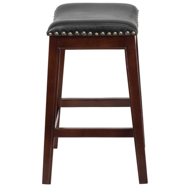 Lowest Price 26'' High Backless Cappuccino Wood Counter Height Stool with Black Leather Saddle Seat
