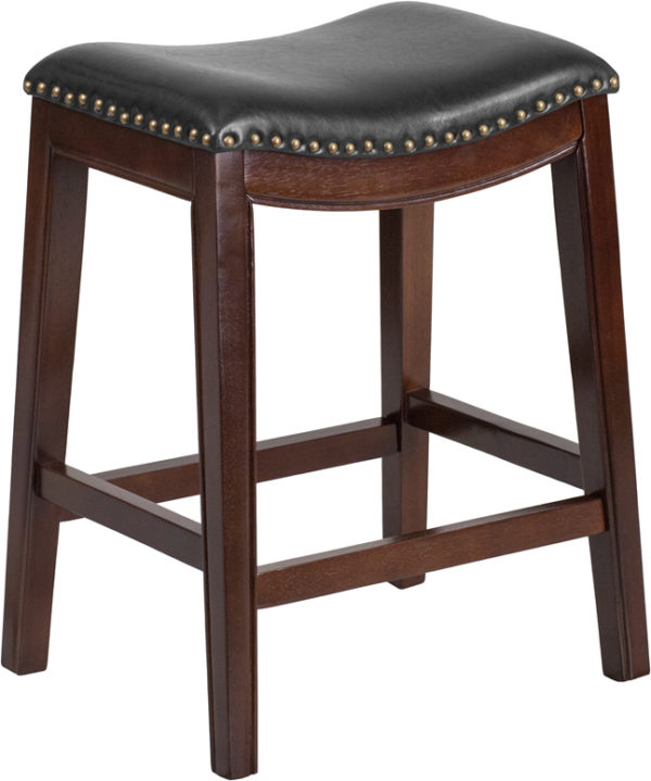 Wholesale 26'' High Backless Cappuccino Wood Counter Height Stool with Black Leather Saddle Seat