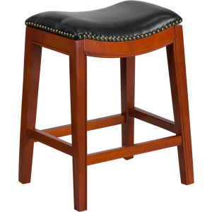 Wholesale 26'' High Backless Light Cherry Wood Counter Height Stool with Black Leather Saddle Seat
