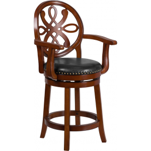 Wholesale 26'' High Brandy Wood Counter Height Stool with Arms