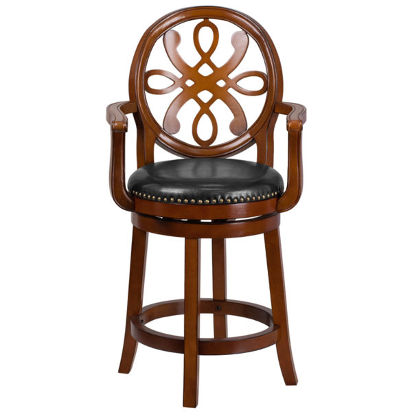"""Transitional Style Stool 26"""" Brandy Wood Stool w/ Arms"""