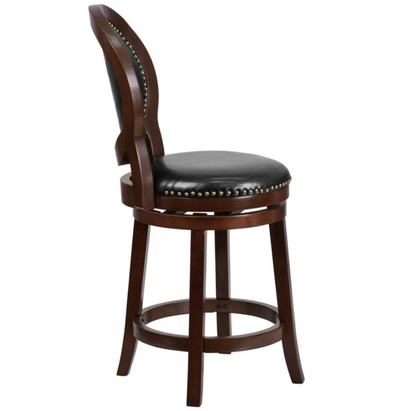 Lowest Price 26'' High Cappuccino Counter Height Wood Stool with Oval Back and Black Leather Swivel Seat