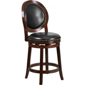 Wholesale 26'' High Cappuccino Counter Height Wood Stool with Oval Back and Black Leather Swivel Seat