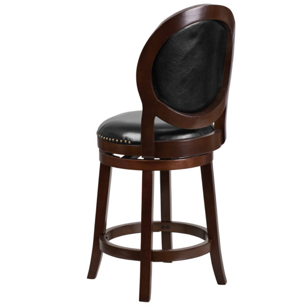 """Transitional Style Stool 26"""" Cappuccino Wood Stool"""