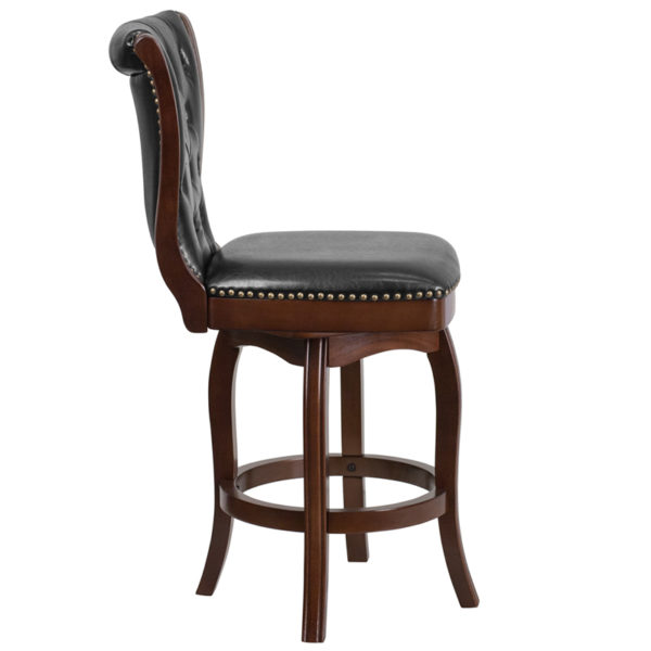 Lowest Price 26'' High Cappuccino Wood Counter Height Stool with Button Tufted Back and Black Leather Swivel Seat