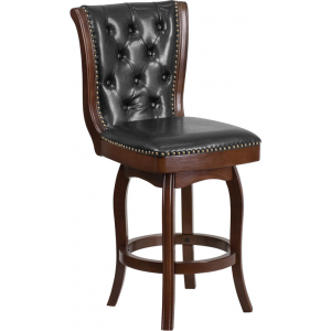 Wholesale 26'' High Cappuccino Wood Counter Height Stool with Button Tufted Back and Black Leather Swivel Seat
