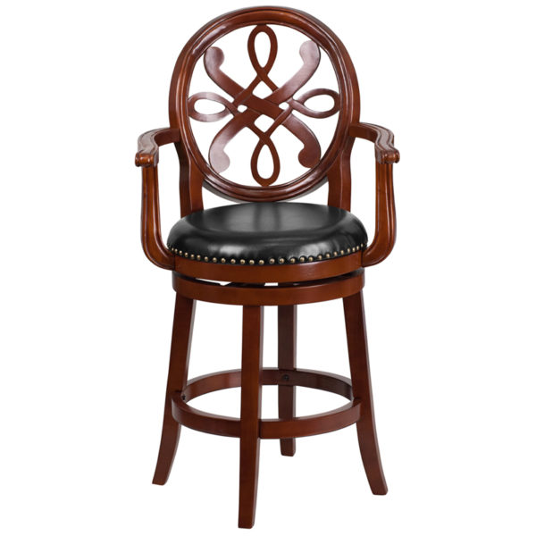 "Transitional Style Stool 26"" Cherry Wood Stool w/ Arms"