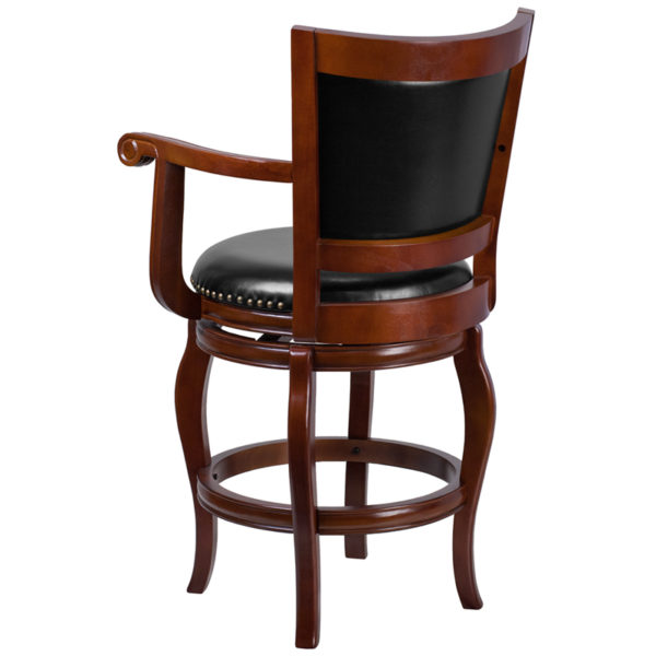 Panel Back and Black Leather Swivel Seat