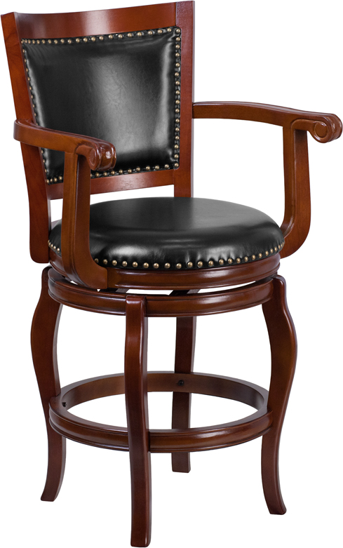 Wholesale 26'' High Cherry Wood Counter Height Stool with Arms