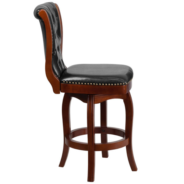 Lowest Price 26'' High Cherry Wood Counter Height Stool with Button Tufted Back and Black Leather Swivel Seat