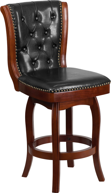 Wholesale 26'' High Cherry Wood Counter Height Stool with Button Tufted Back and Black Leather Swivel Seat