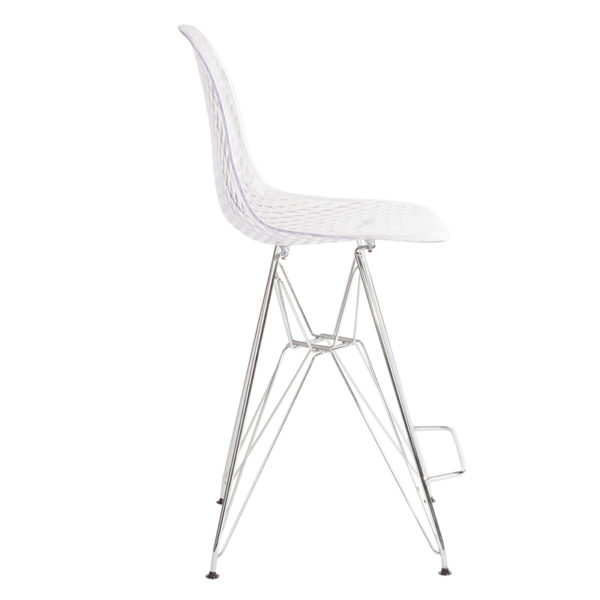 """Lowest Price 26"""" High Clear Acrylic Counter Height Stool with Chrome Legs"""