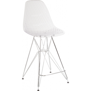 "Wholesale 26"" High Clear Acrylic Counter Height Stool with Chrome Legs"