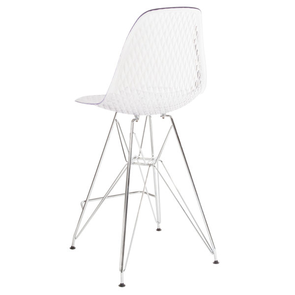 """Contemporary Counter Stool 26""""H Clear Barstool"""