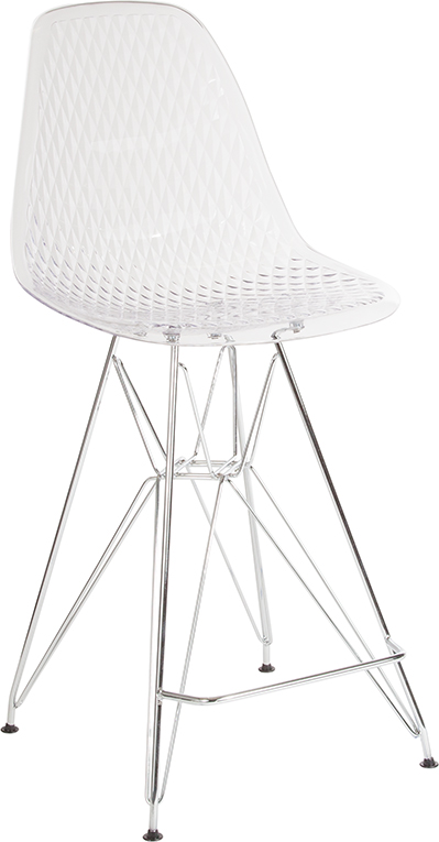 """Wholesale 26"""" High Clear Acrylic Counter Height Stool with Chrome Legs"""
