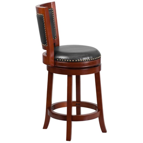 Lowest Price 26'' High Dark Cherry Wood Counter Height Stool with Open Panel Back and Walnut Leather Swivel Seat