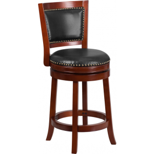 Wholesale 26'' High Dark Cherry Wood Counter Height Stool with Open Panel Back and Walnut Leather Swivel Seat