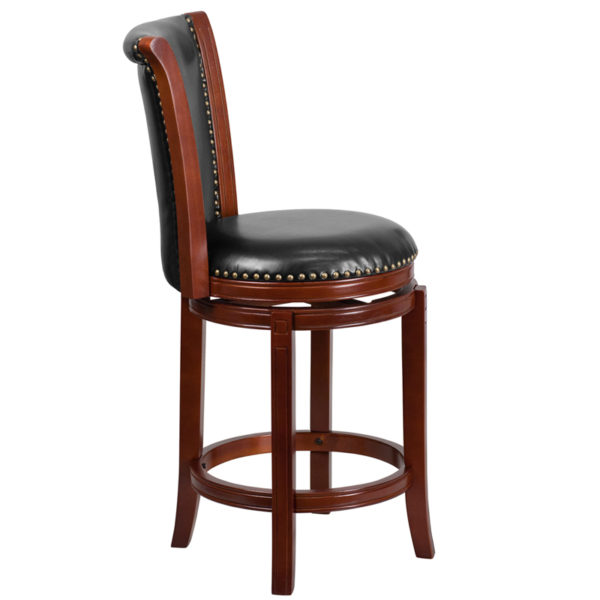Lowest Price 26'' High Dark Chestnut Wood Counter Height Stool with Panel Back and Black Leather Swivel Seat