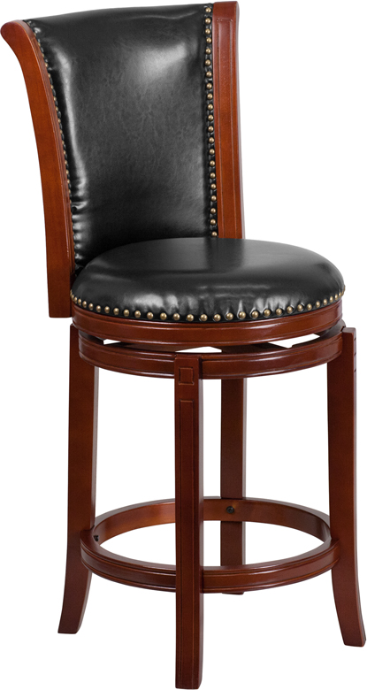 Wholesale 26'' High Dark Chestnut Wood Counter Height Stool with Panel Back and Black Leather Swivel Seat