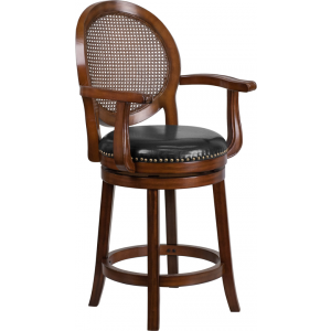 Wholesale 26'' High Expresso Wood Counter Height Stool with Arms