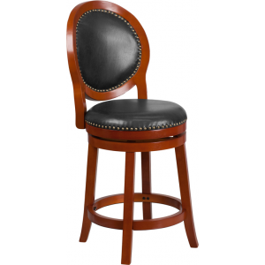Wholesale 26'' High Light Cherry Counter Height Wood Stool with Oval Back and Walnut Leather Swivel Seat