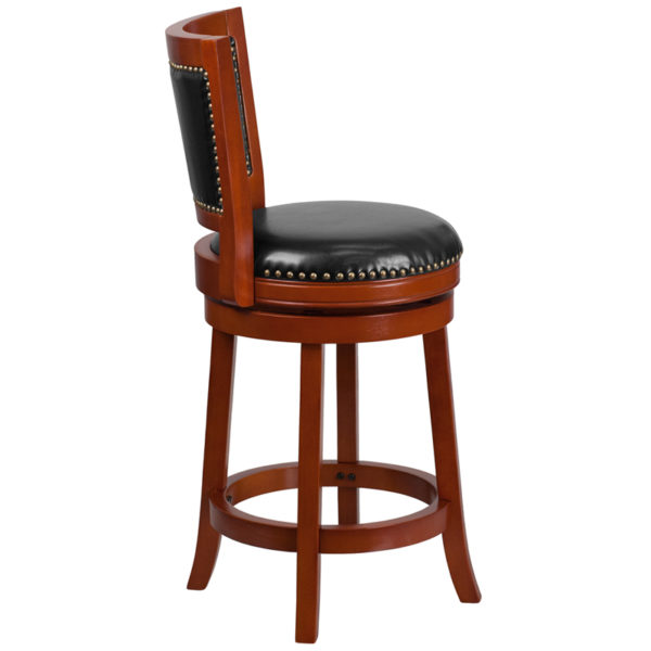 Lowest Price 26'' High Light Cherry Wood Counter Height Stool with Open Panel Back and Black Leather Swivel Seat