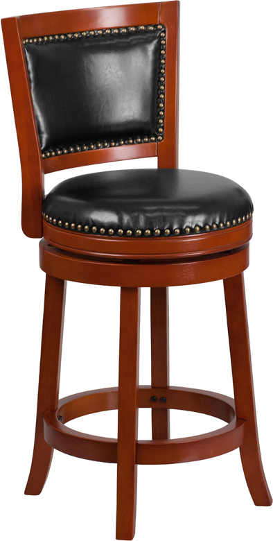Wholesale 26'' High Light Cherry Wood Counter Height Stool with Open Panel Back and Black Leather Swivel Seat