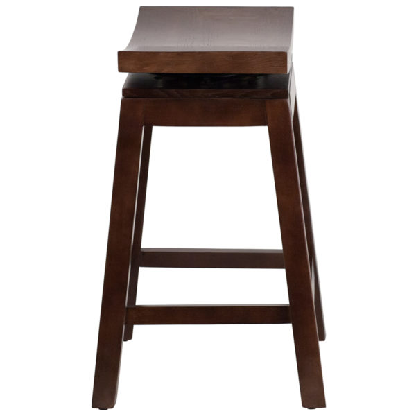 Lowest Price 26'' High Saddle Seat Cappuccino Wood Counter Height Stool with Auto Swivel Seat Return