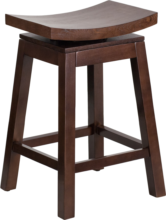 Wholesale 26'' High Saddle Seat Cappuccino Wood Counter Height Stool with Auto Swivel Seat Return