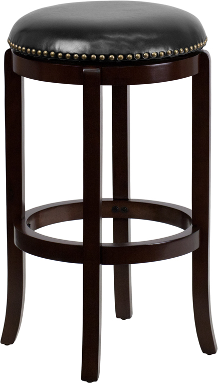 Wholesale 29'' High Backless Cappuccino Wood Barstool with Black Leather Swivel Seat