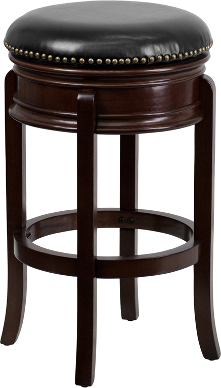 Wholesale 29'' High Backless Cappuccino Wood Barstool with Carved Apron and Black Leather Swivel Seat