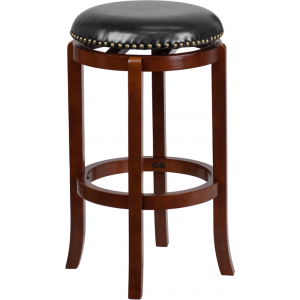 Wholesale 29'' High Backless Light Cherry Wood Barstool with Black Leather Swivel Seat