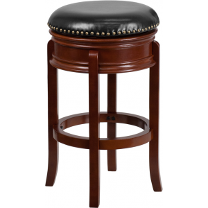 Wholesale 29'' High Backless Light Cherry Wood Barstool with Carved Apron and Black Leather Swivel Seat