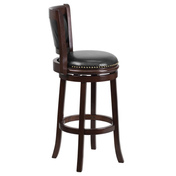 Lowest Price 29'' High Cappuccino Wood Barstool with Panel Back and Black Leather Swivel Seat
