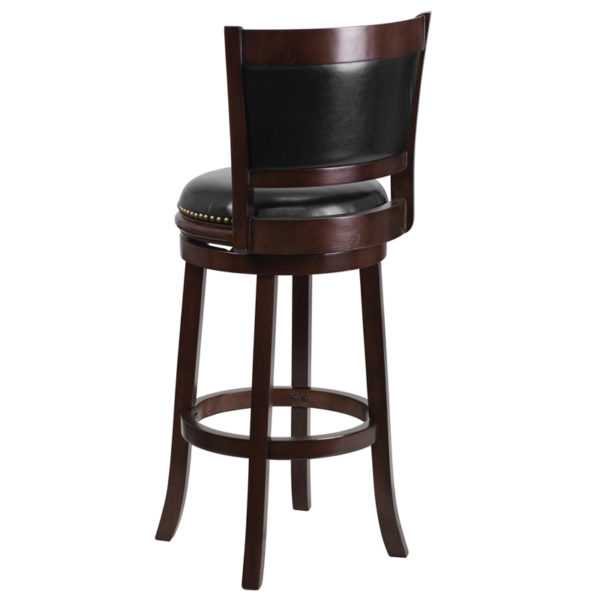 """Transitional Style Stool 29"""" Cappuccino Wood Stool"""
