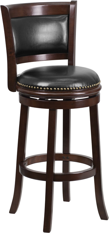Wholesale 29'' High Cappuccino Wood Barstool with Panel Back and Black Leather Swivel Seat
