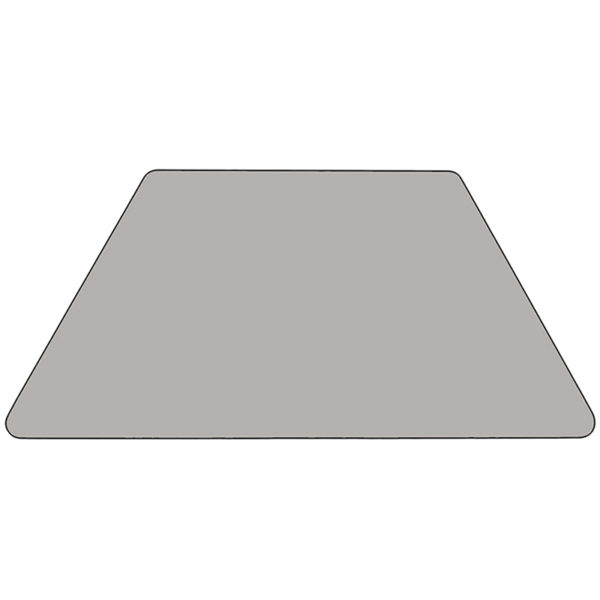 Lowest Price 29.5''W x 57.25''L Trapezoid Grey HP Laminate Activity Table - Height Adjustable Short Legs