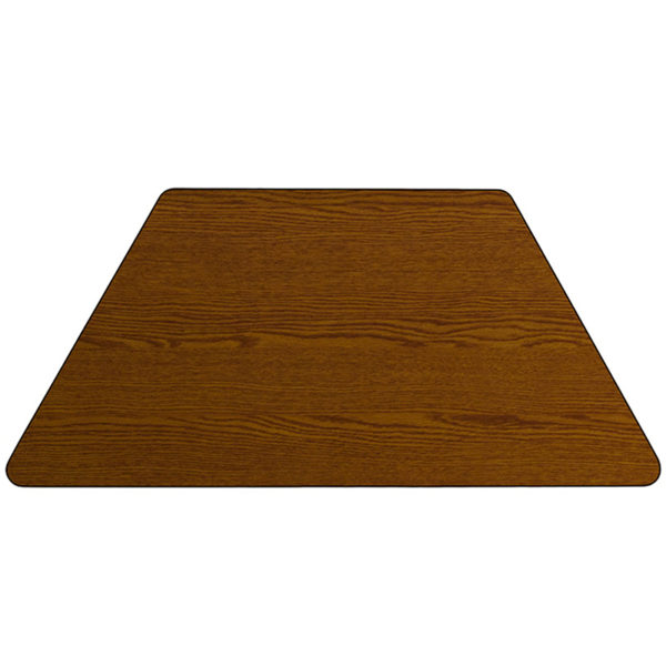 Lowest Price 29.5''W x 57.25''L Trapezoid Oak HP Laminate Activity Table - Standard Height Adjustable Legs