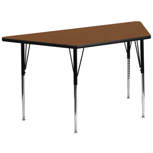 Wholesale 29.5''W x 57.25''L Trapezoid Oak HP Laminate Activity Table - Standard Height Adjustable Legs
