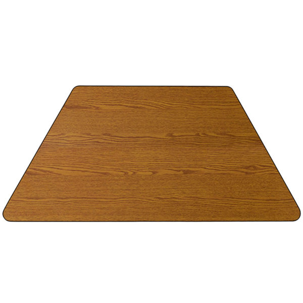 Lowest Price 29.5''W x 57.25''L Trapezoid Oak Thermal Laminate Activity Table - Standard Height Adjustable Legs
