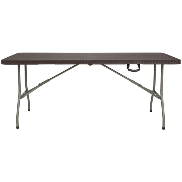 Lowest Price 29''W x 71''L Bi-Fold Brown Rattan Plastic Folding Table